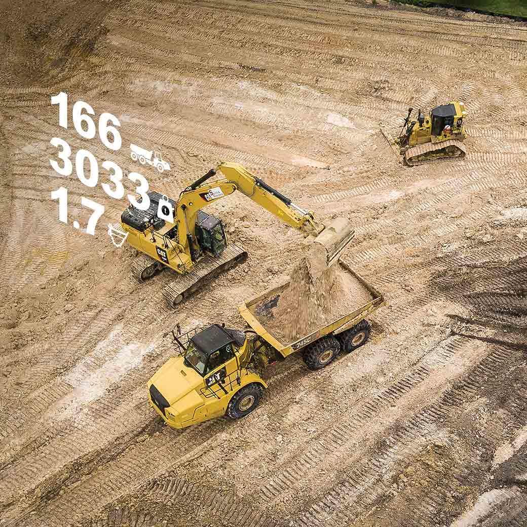Excavator loads a truck